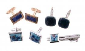 A Pair Of 9 Carat Gold Lapis Lazuli Cufflinks