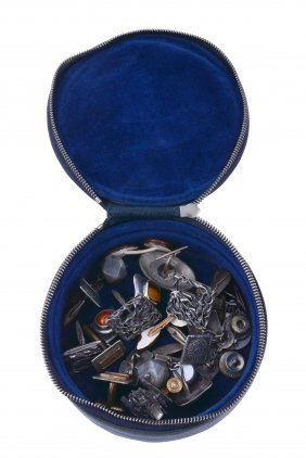 A Collection Of Silver Coloured And Other Cufflinks