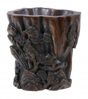 A Chinese Wood Brush Pot, Bitong, Probably Late Qing Or