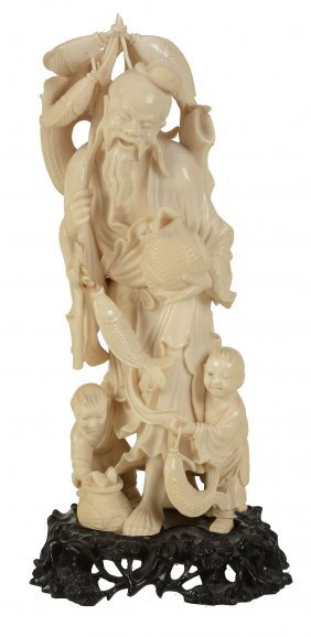 A Chinese Ivory Figure Of A Fisherman , The Venerable