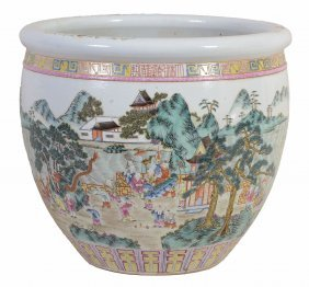A Chinese Famille Verte 'boys' Fish Bowl, 19th Century