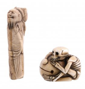A Walrus Or Narwhal Tusk Netsuke Carved As A Standing