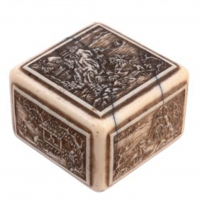 An Ivory Hako Netsuke , The Rectilinear Object Carved