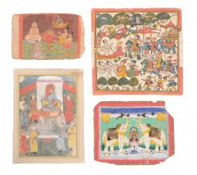 Four Indian Miniature Paintings, Northern Indian,