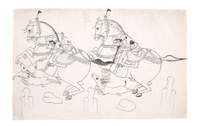 Three Indian Drawings, Northern Indian 19th Century