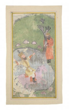 An Illustrated Folio Form A Shahnameh, Sultanate India,