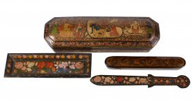 A Papier Mache Box And Cover, Kashmir, Northern India,