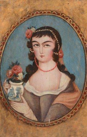 A Qajar Portrait Of A Lady, Wearing European Style