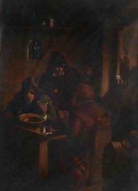 Dutch School (19th Century) - Preparing Tobacco In An