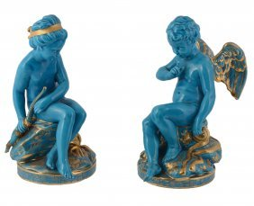 A Pair Of French Porcelain Turquoise-glazed And Gilt
