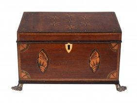A George Iii Mahogany And Inlaid Tea Caddy , Circa 1780