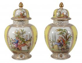A Pair Of Dresden Globular Vases And Domed Covers,