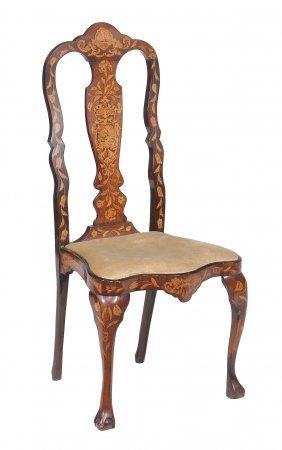 A Dutch Marquetry Chair , 19th Century, 112cm High,
