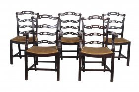 A Set Of Eight Mahogany Ladder Back Dining Chairs In