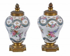 A Pair Of Small French Porcelain Vases , Late 19th