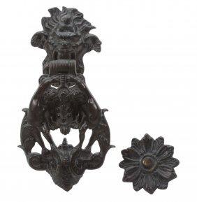 An Italian, Probably Venetian Bronze Door Knocker In
