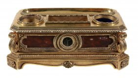A Continental Gilt Metal And Marble Inset Encrier, Mid