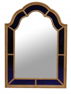 A Swedish Giltwood And Blue Glass Mirror In Late 18th