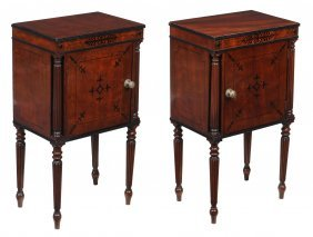 A Pair Of Mahogany And Ebony Inlaid Beside Cupboard In