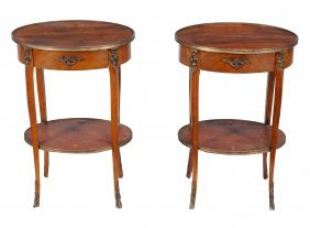 A Pair Of Oval Walnut Bedside Or Occasional Tables ,