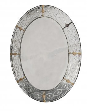 An Oval Wall Mirror In Late 18th Century Style , 19th