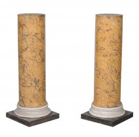 A Pair Of Scagliola Columnar Pedestals, Late 19th