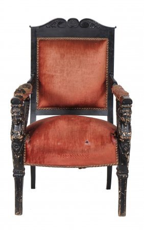 An Empire Ebonised Desk Chair , Circa 1810, With Wing