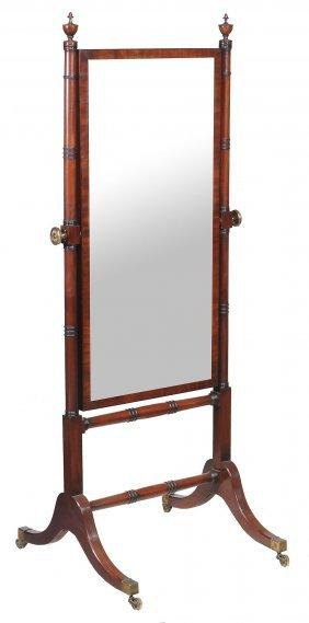A Regency Mahogany Cheval Mirror , Circa 1815, 163cm