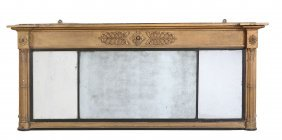 A Regency Giltwood And Composition Triptych Overmantle