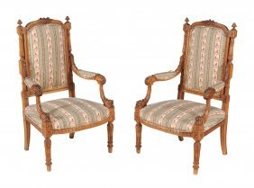 A Pair Of Carved Beech Framed Armchairs In 18th Century