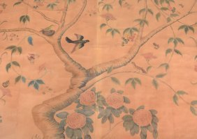 A Large Section Of Hand Painted Wall Paper, In The