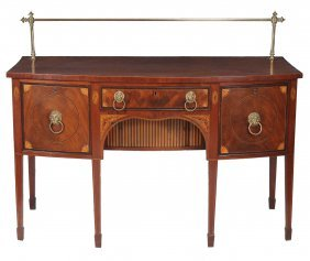 A Georgian Mahogany And Inlaid Bow Front Sideboard,