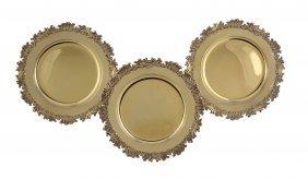 Three Silver Gilt Shaped Circular Dessert Plates By