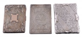 Three Silver Side-opening Rectangular Card Cases