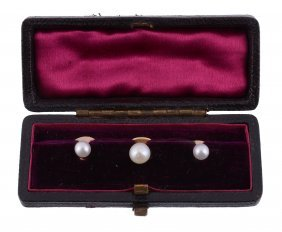 A Matched Set Of Early 20th Century Pearl Dress Studs ,