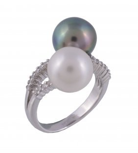 A South Sea Cultured Pearl And Diamond Dress Ring
