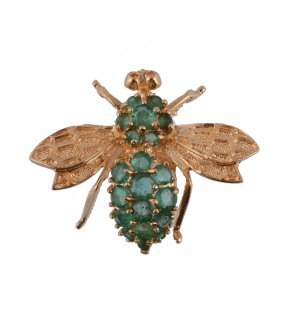 An Emerald Fly Brooch, Designed As A Fly, Set With