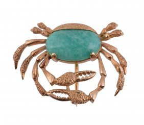 An Amazonite Crab Brooch, Designed As A Crab Set With A