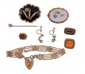 A Small Collection Of Antique Jewellery, To Include