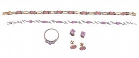 A Pink Sapphire Bracelet, Composed Of Oval Cut Pink