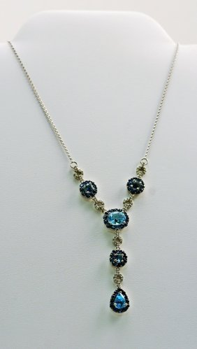 Designer 14k White Gold Necklace With Diamonds , Sapphi