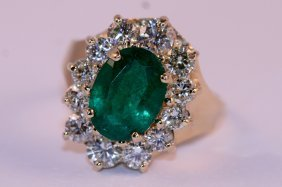 AIG Appraisal- 14k Yellow Gold Diamon And Emerald Ring.