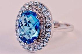 Ring 14k White Gold Diamond And Blue Topaz.