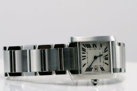 CARTIER TANK FRANCAISE WATCH W BOOK & PAPERS
