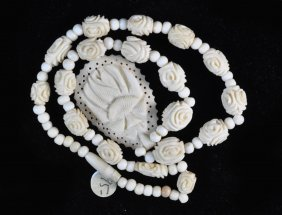 Chinese Carved Bone Bead Necklace
