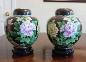 Pair Of Large Chinese Cloisonne Enamel Ginger Jars