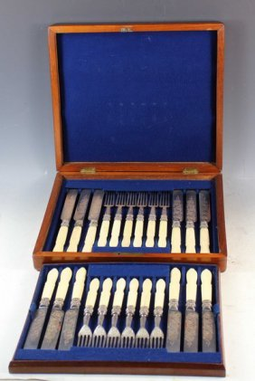 Ivory Handled Fish Knives And Forks Set W/case