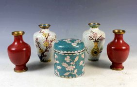 Group Of Five Chinese Cloisonne Vases & Tea-caddy