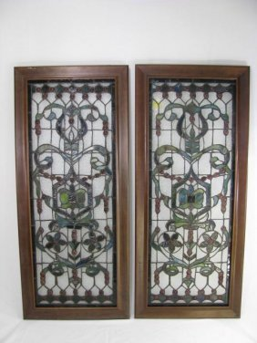 PAIR STAINED GLASS WINDOW STYLE PANELS FRAMED