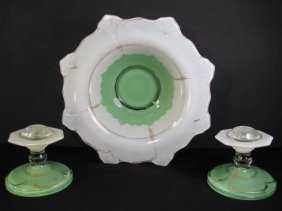 RETRO GREEN FROSTED GLASS BOWL & CANDLESTICKS